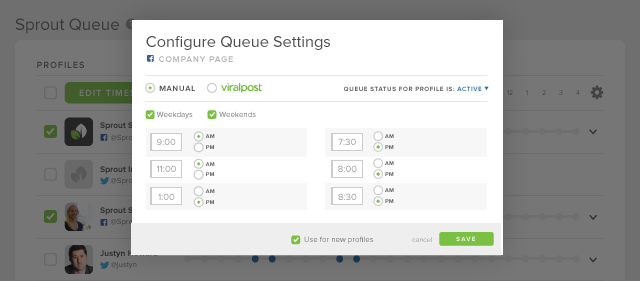 sprouts social queue settings screenshot