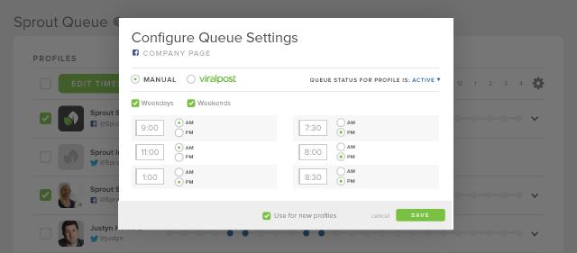 sprouts social queue settings screenshot