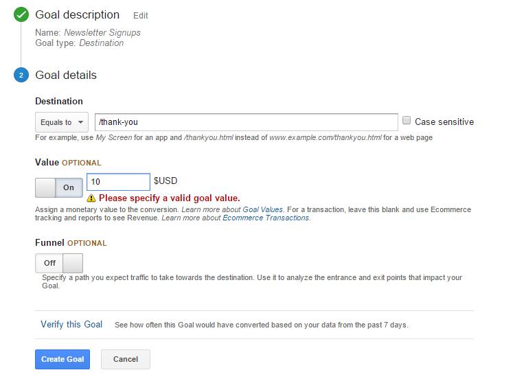 3- Goal Details Google Analytics