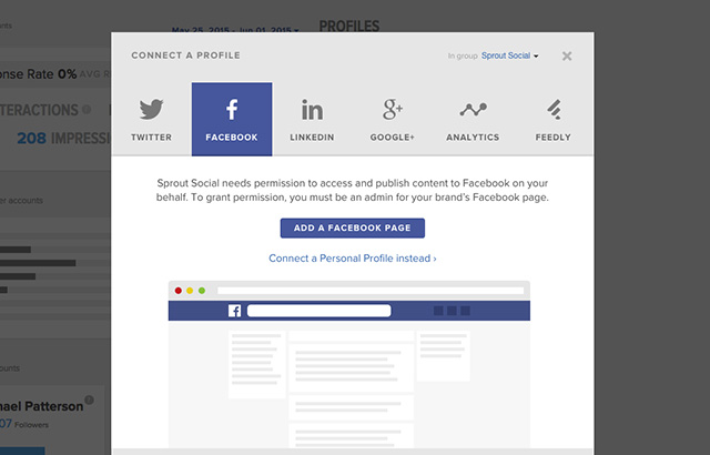 add facebook page screenshot sprout social