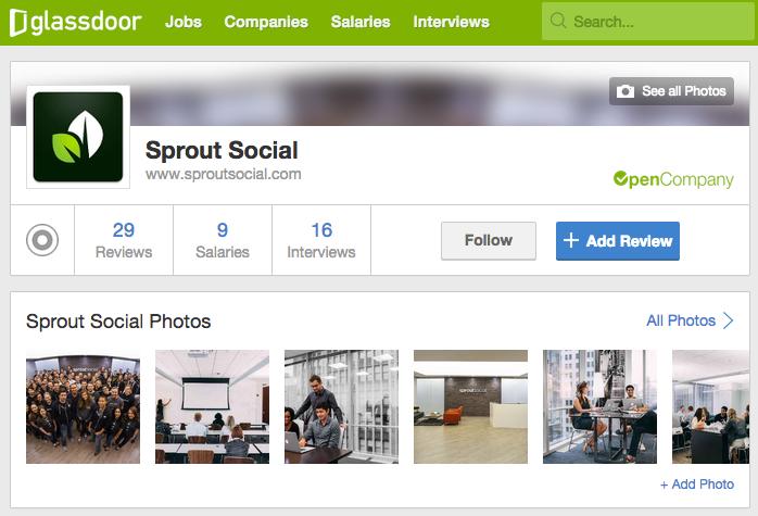 Glassdoor Sprout Homepage