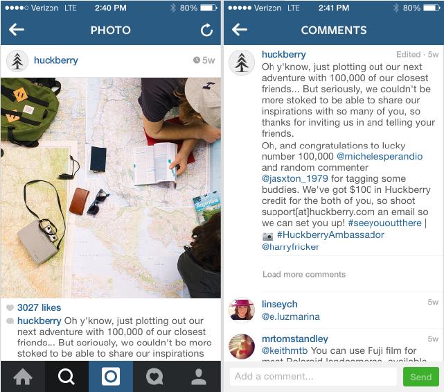 huckberry instagram marketing example