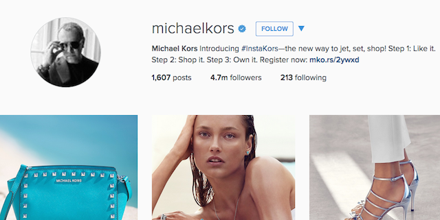 Michael Kors Web Instagram Profile