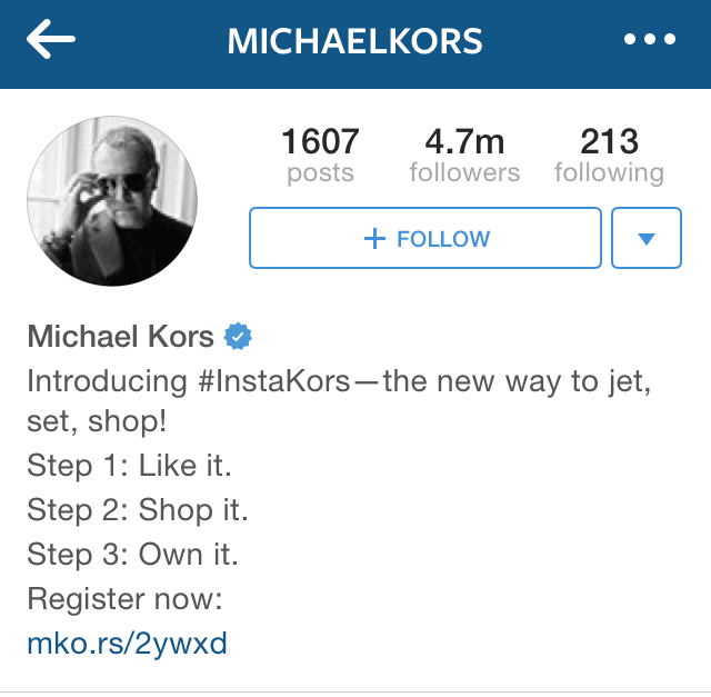Michael Kors iOS Instagram Bio