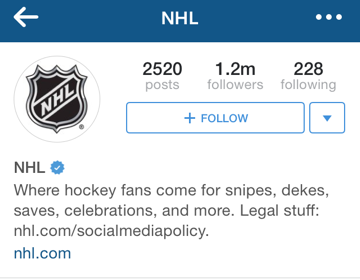 NHL instagram