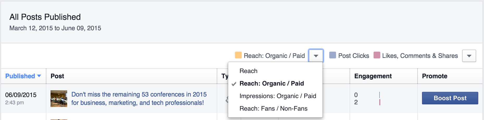 facebook metrics organic paid reach screenshot