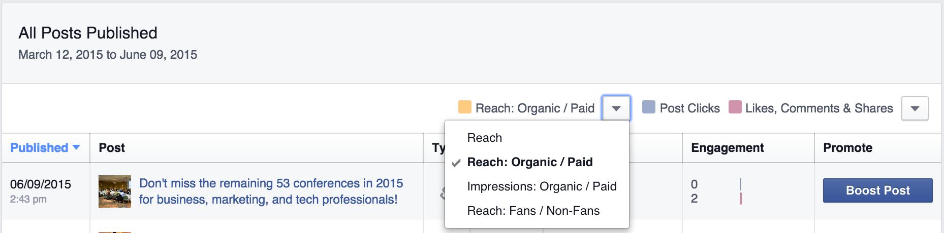 facebook metrics organic paid reach screenshot