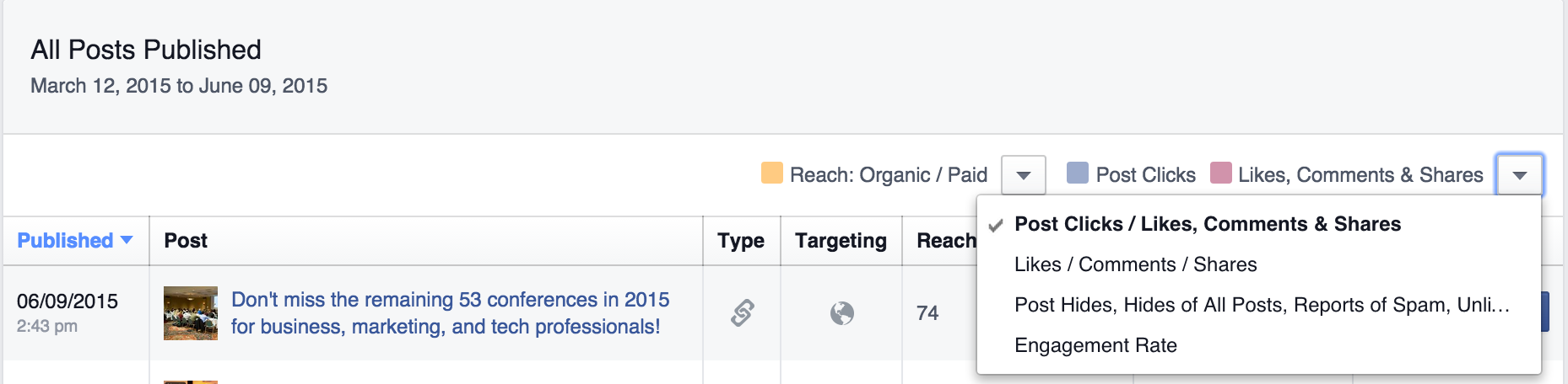 facebook metrics post clicks screenshot