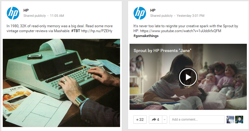 HP Google Plus Content