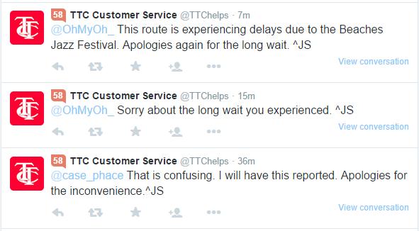 TTC Twitter Customer Service