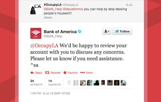 bank of america auto response tweet