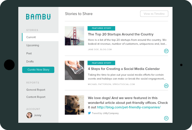 Bambu Employee Advocacy Current Stories View