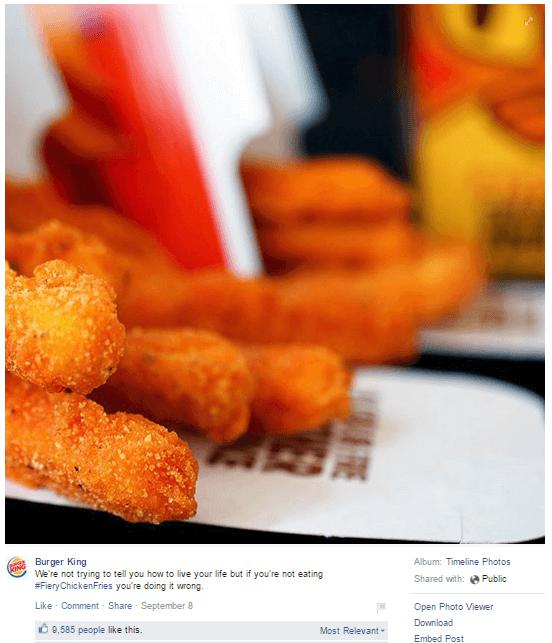 Burger King FB Post 1