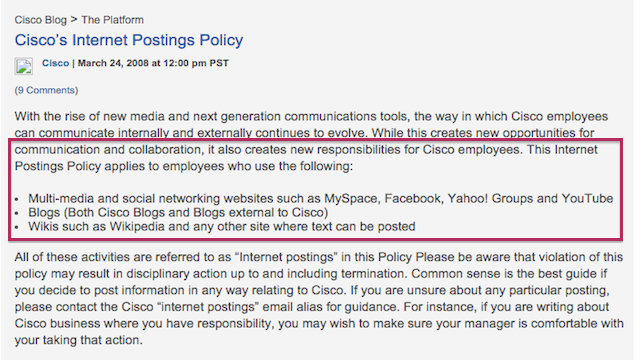 Cisco Social Media Policy
