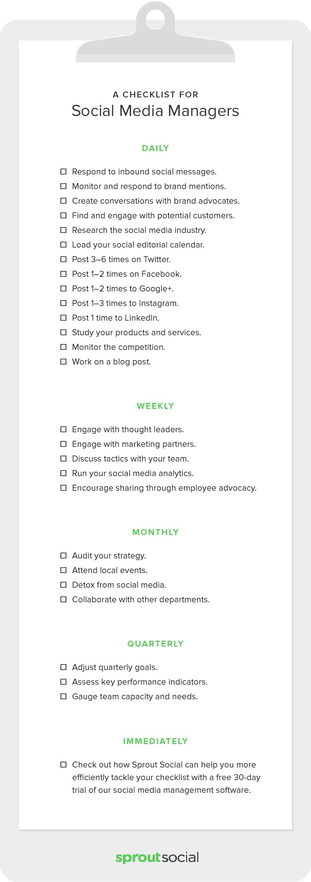 your own checkable social media checklist