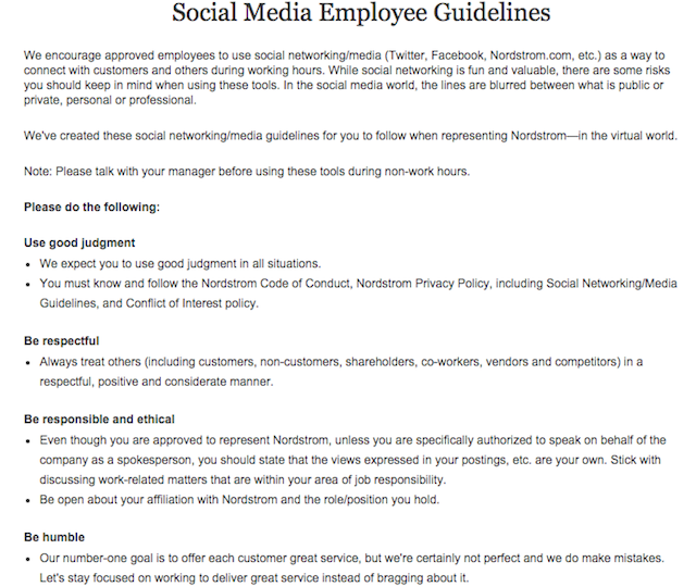 Nordstrom Social Media Guidelines