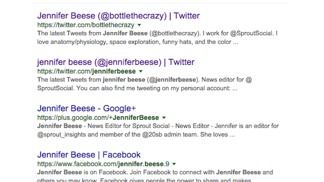 Twitter Bio Google Search