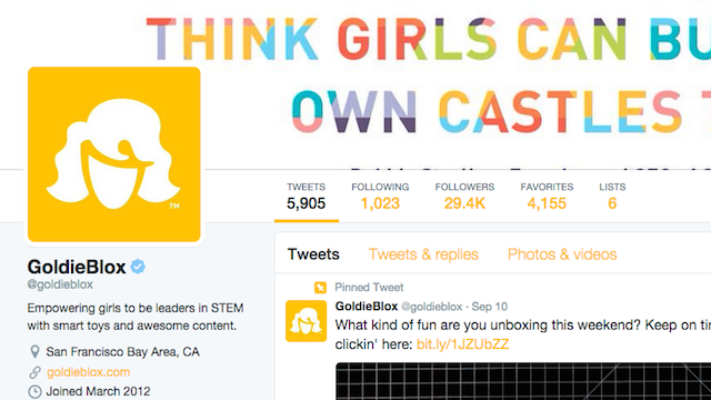 Twitter bio ideas GoldieBlox