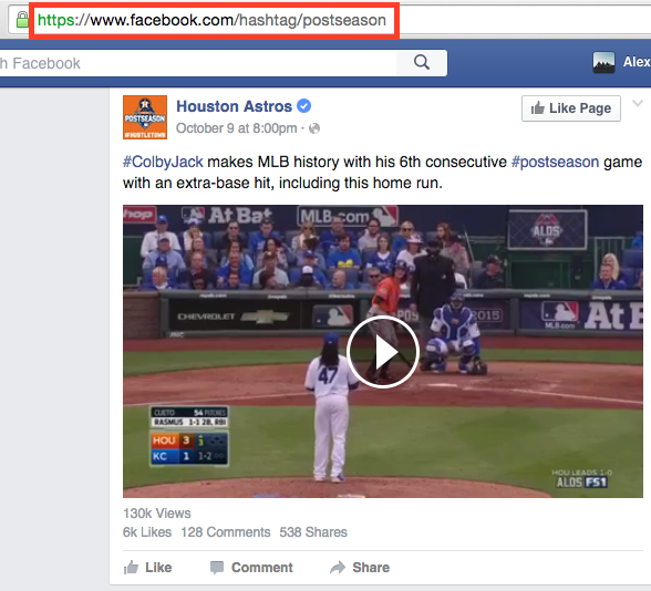 facebook hashtag search example