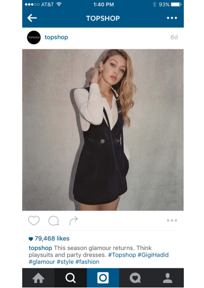 topshop instagram on iphone