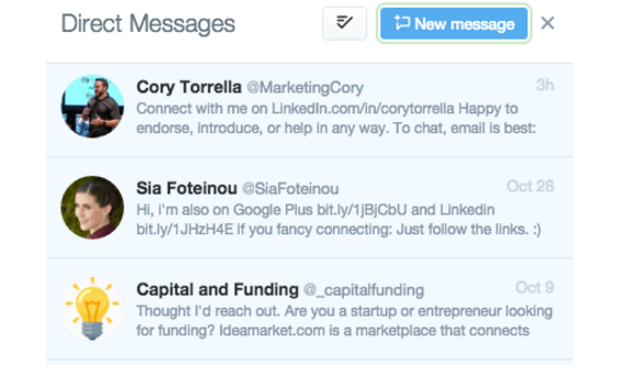 generic direct messages  Social Media Automation Rules No Brand Should Break Screen Shot 2015 11 03 at 2
