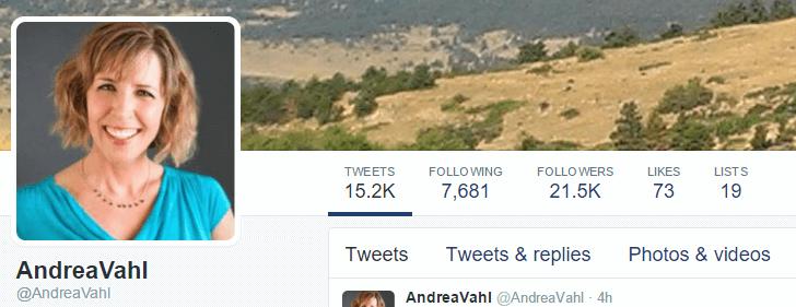 Andrea Vahl Twitter