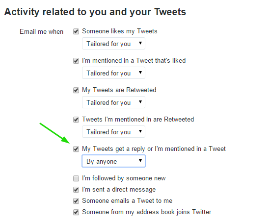 Twitter Mentions Email Settings