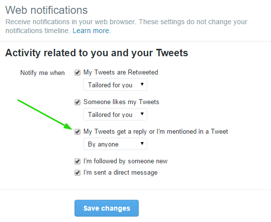 Twitter Mentions Web Settings