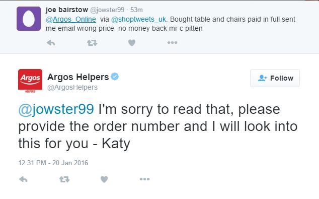 Argos Twitter Support Initials