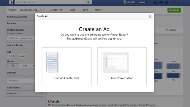 Facebook Audience Insights Create Ad
