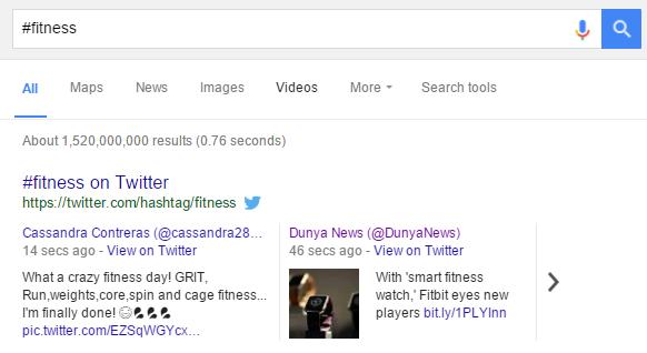 Búsqueda de hashtags en Google