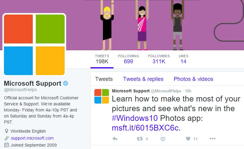 Microsoft Support Twitter