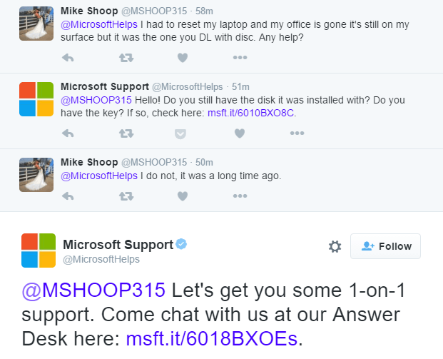 Microsoft Twitter Support