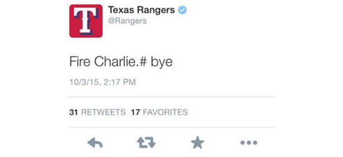 texas rangers accidental tweet
