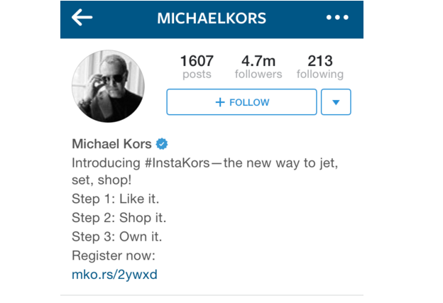 michael kors instagram bio example