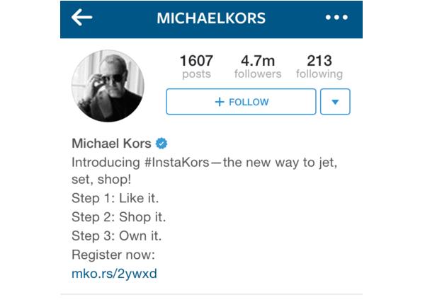 michael kors instagram bio example