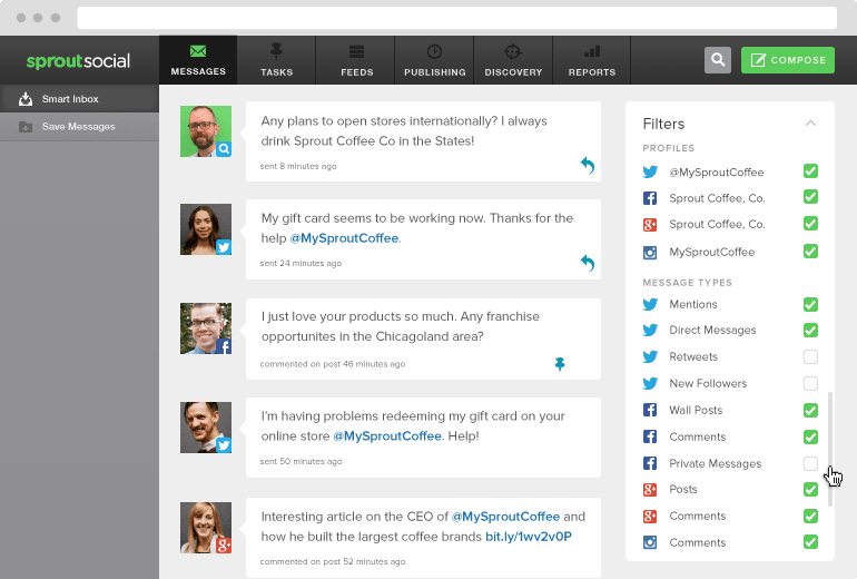 social monitoring inbox screen