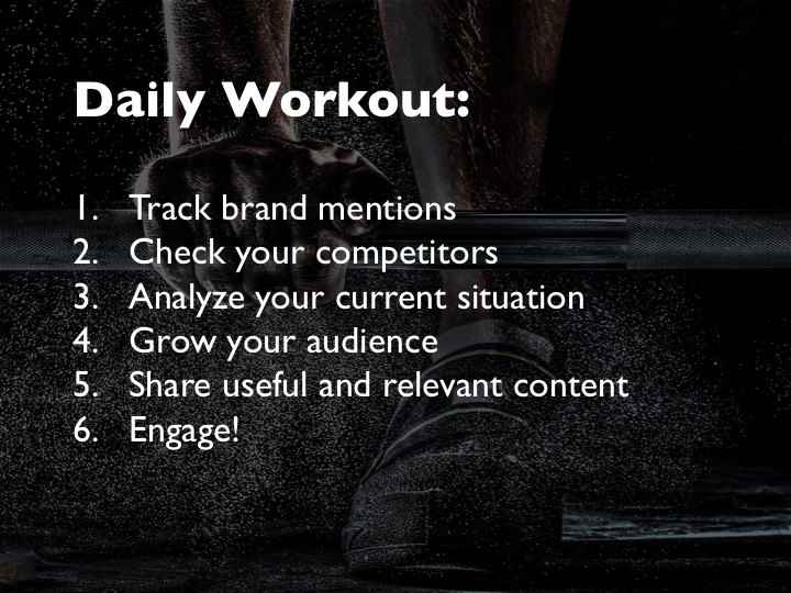 daily workout list for building an online presence