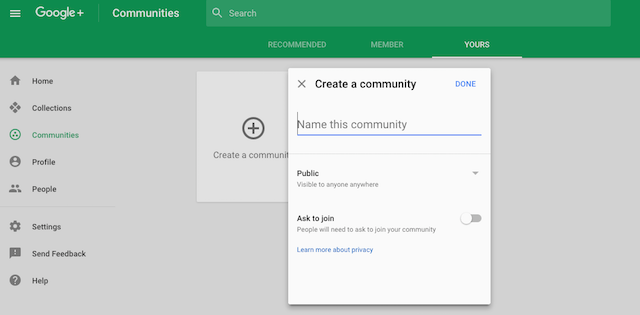 Create Google+ Community New