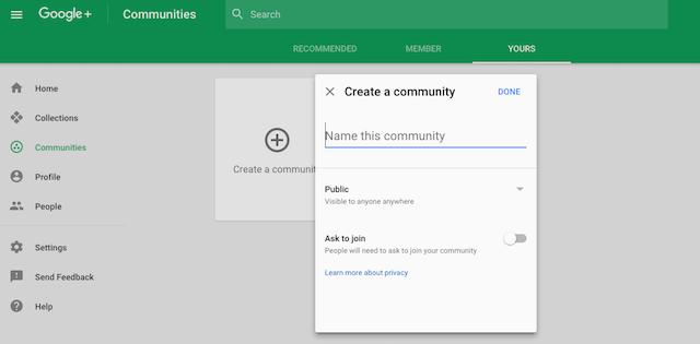 Create Google+ Community New