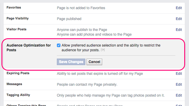 Facebook Organic Targeting Settings