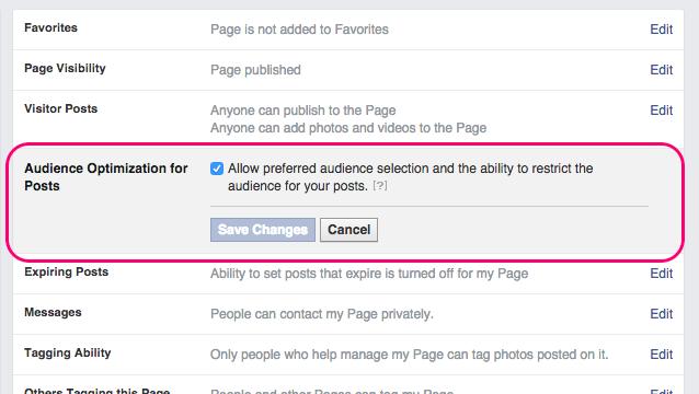 Facebook Organic Targeting Settings
