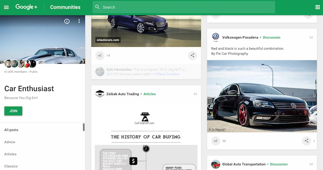 Google+ Community Cars