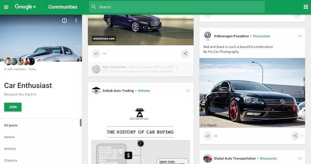 Google+ Community Cars