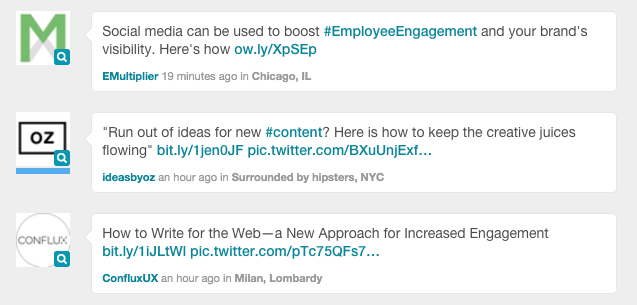 engagement search with sprout inbox eample