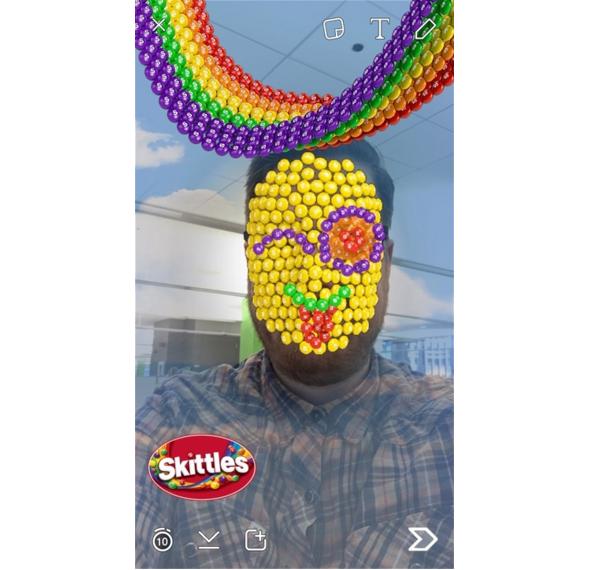 snapchat skittles face filter example