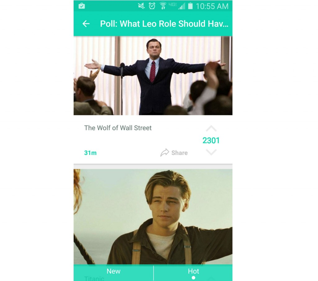 Yik Yak users vote on which movie Leonardo DiCaprio should've won an Oscar for.