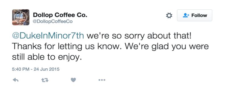 dollop coffee twitter response