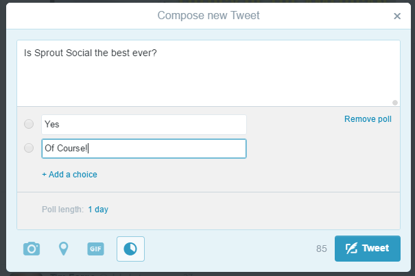 Creating Twitter Poll
