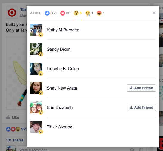 Facebook Reactions Target All